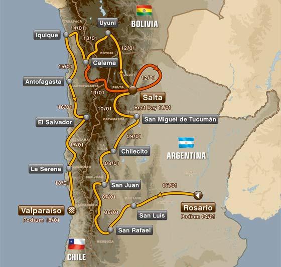 Mapa do Dakar 2014