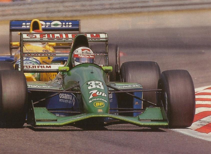 de Cesaris ficou perto de conseguir um grande resultado para a Jordan na Bélgica.