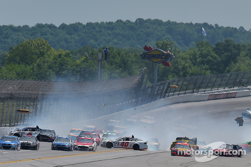 TALLADEGA, AL - MAY 03:  A large incident occurs on the backstretch during the NASCAR Sprint Cup Series GEICO 500 at Talladega Superspeedway on May 3, 2015 in Talladega, Alabama.  (Photo by Drew Hallowell/Getty Images)