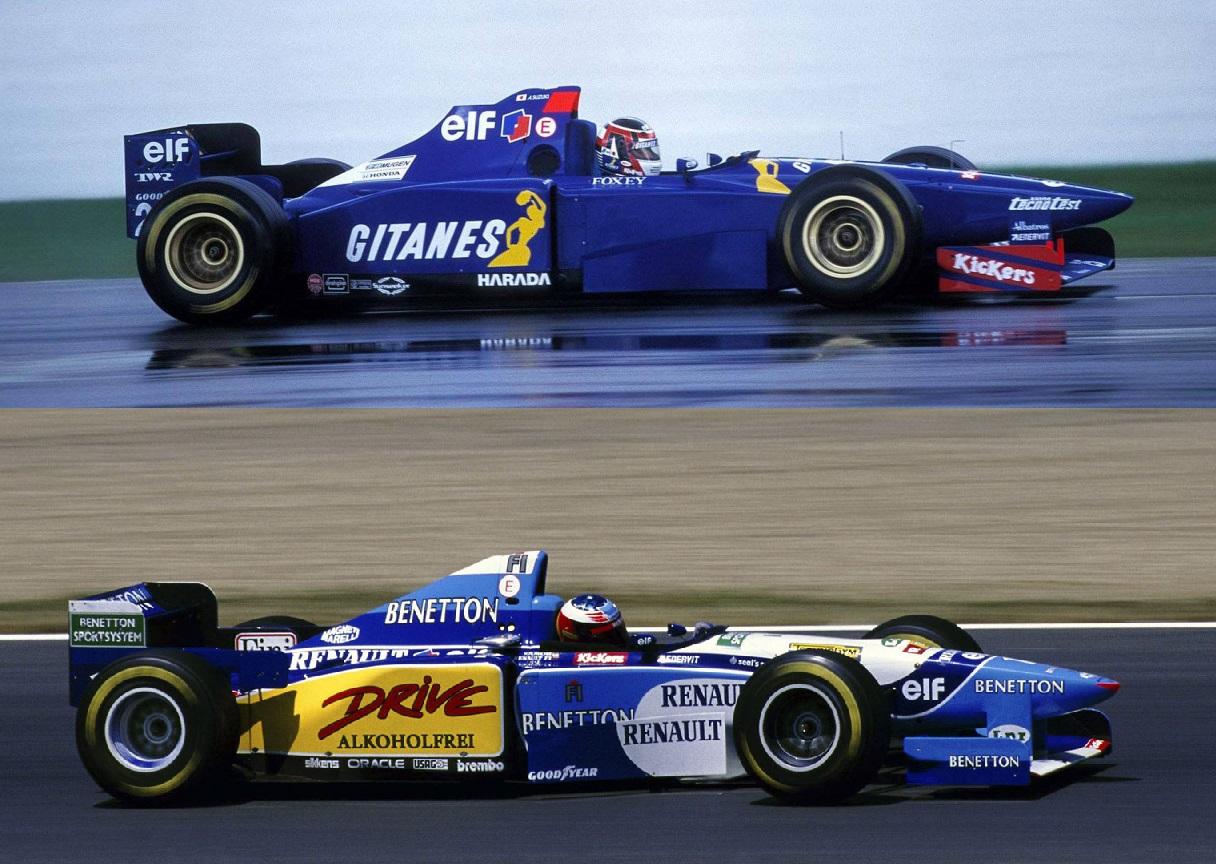 Veja a Semelhança dos carros da Benetton e da Ligier, Apenas se diferenciando por alguns detalhes e pelos motores.