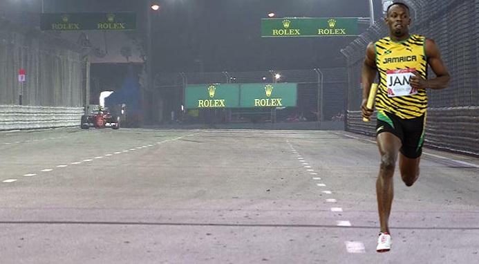 Bolt correndo os 100 metros durante o GP de Cingapura!!!