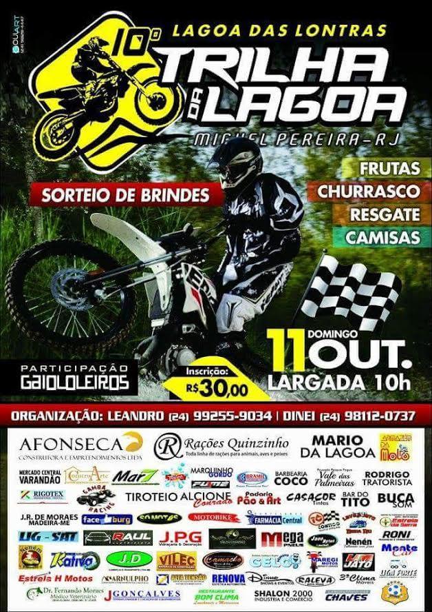 10ª Trilha da Lagoa em Miguel Pereira no dia 11 de Outubro com largada as 10 da Manhã (Conselho para chegar no local com pelo menos 2 horas de antecedência)